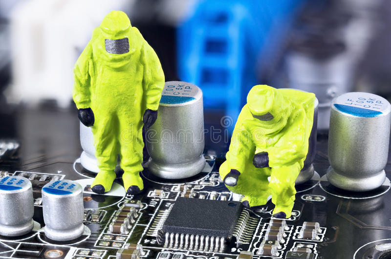 Motherboard repairing or diagnosing concept stock photo