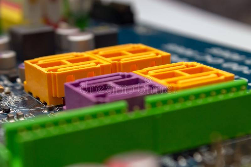 Motherboard SATA connectors. Focus on SATA stock photo