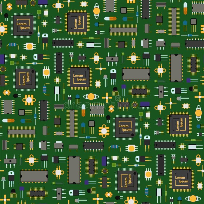 Motherboard van de de bewerkerkring van de chiptechnologie het patroon van het informatiesysteem naadloze vector als achtergrond royalty-vrije illustratie
