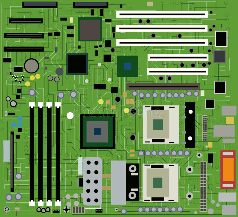 Motherboard vector. Close-up of a motherboard vector royalty free illustration