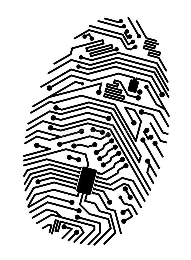 Motherboard vingerafdruk royalty-vrije illustratie