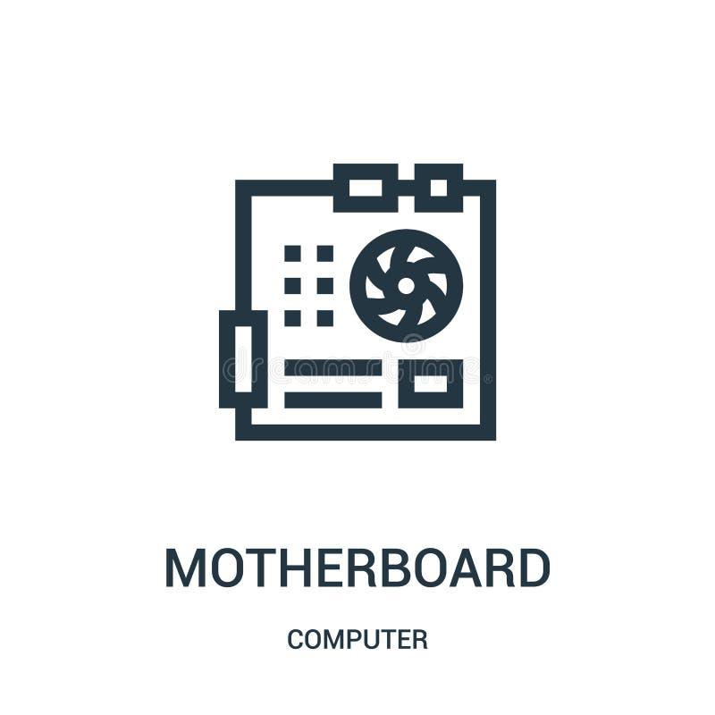 Motherboardikonenvektor von der Computersammlung Dünne Linie Motherboardentwurfsikonen-Vektorillustration vektor abbildung