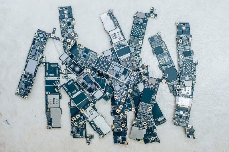 Motherboards van mobiele telefoon stock afbeelding