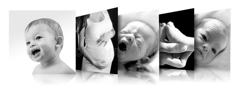 Motherhood. Photos of a pregnant woman and a newborn