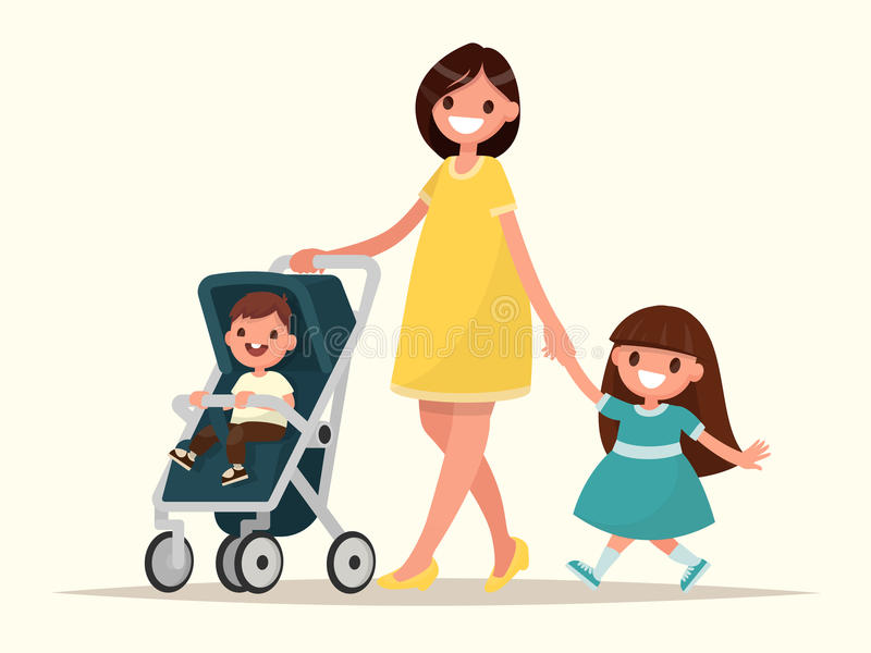 Motherhood. Happy young mother with her daughter and a toddler i. N a pram. Vector illustration stock illustration