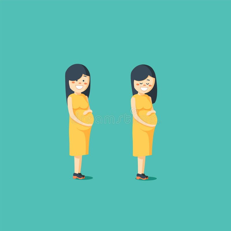 Motherhood. Pregnant woman posing. Happy expectant mother. Vector illustration of a flat design stock illustration