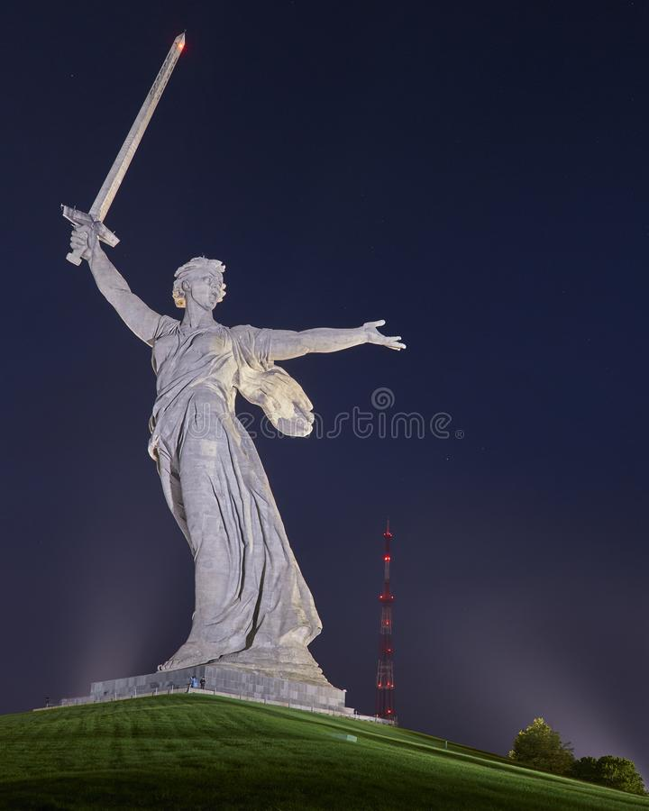 The Motherland Calling Monument in the light of the full moon. stock photography
