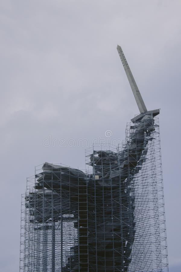 Motherland  on the Mamayev Hill is under reconstruction royalty free stock photos