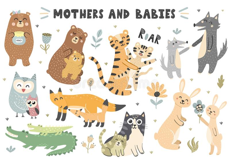 Mothers and babies animals collection royalty free illustration