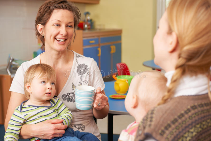 baby chat room. Download Mothers With Babies Chatting And Drinking Coffee At Playgroup Stock Image - Of Children Baby Chat Room A