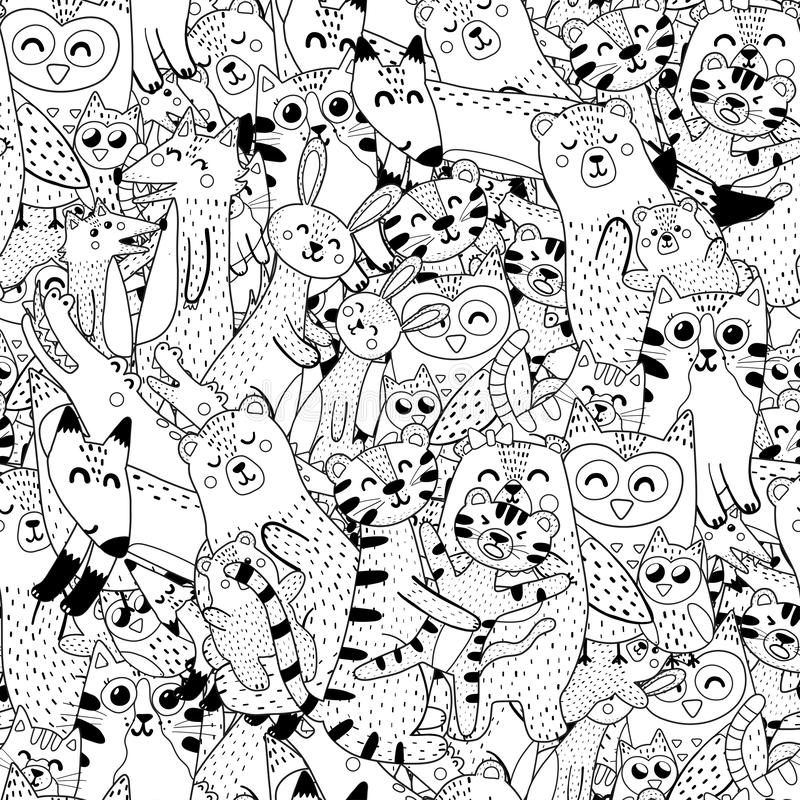 Mothers and babies coloring page. Black and white seamless pattern with doodle animals. Vector illustration stock illustration