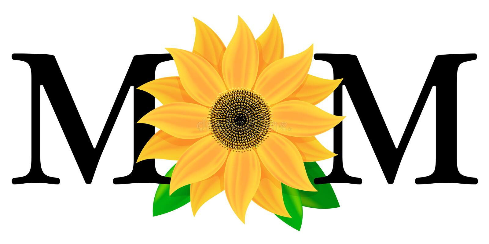 Mothers Day. An illustration of a bright yellow flower spelling the word Mom in celebration of mothers day
