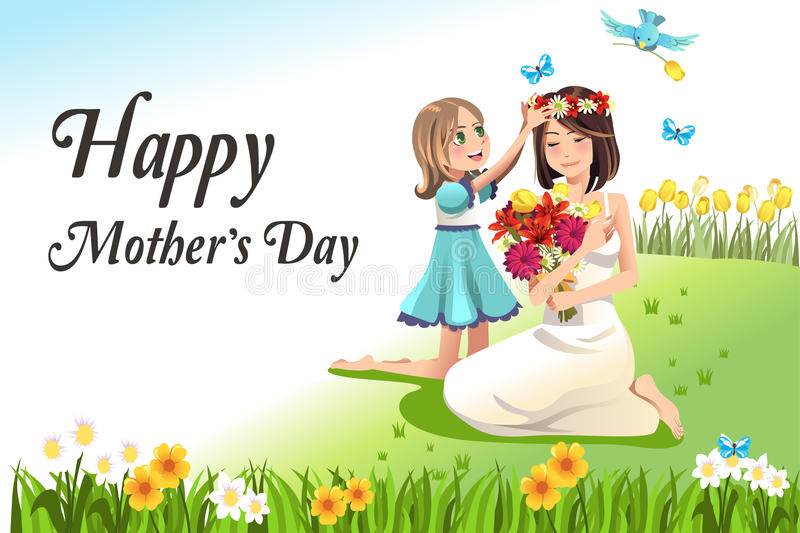 Mothers day. A vector illustration of happy mothers day card
