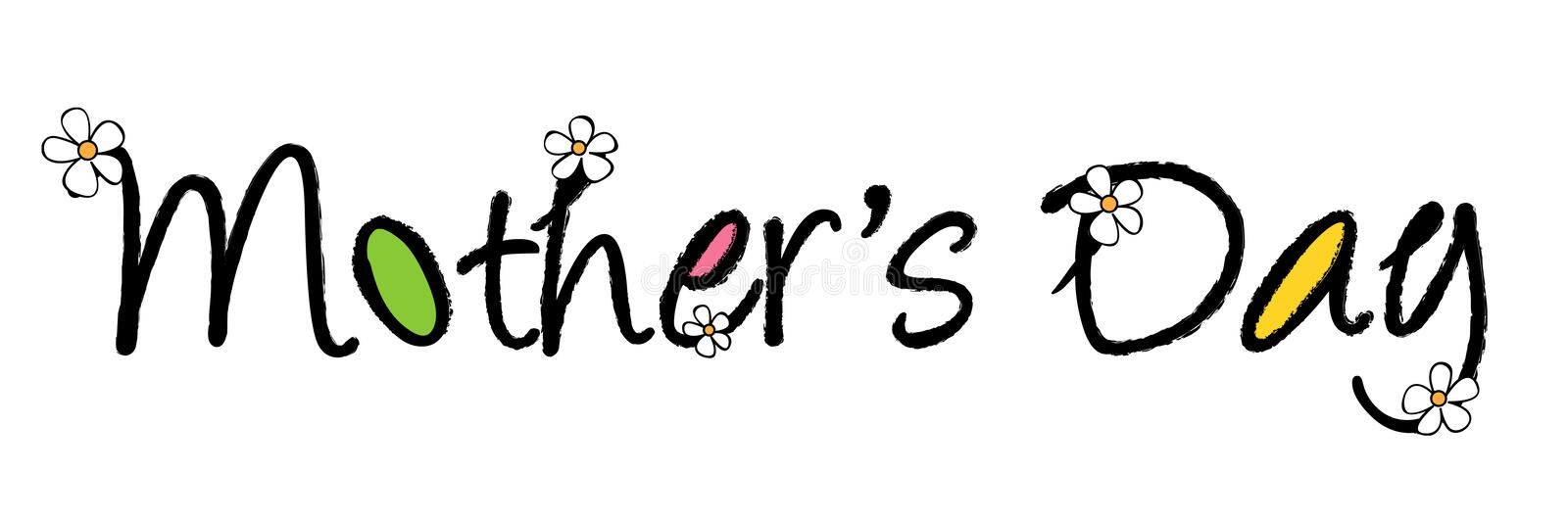 Mothers day. Decorative mother's day Greeting card words with white daisy flowers. Floral wishes for mom on Mother's day