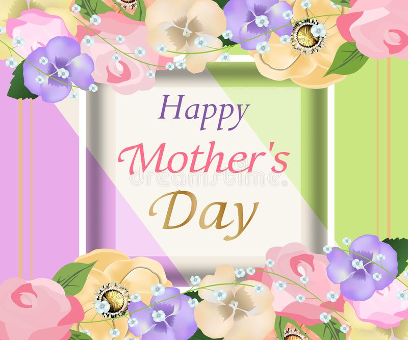 mothers day background with beautiful flowers greeting