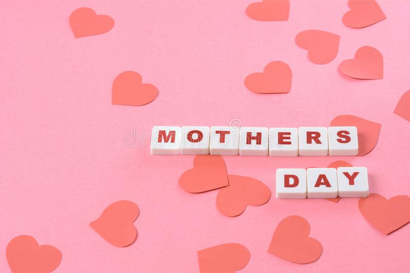 Mothers day background with red hearts stock image
