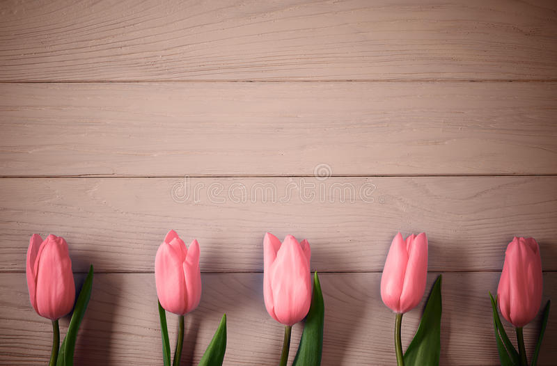 Mothers Day Background. Tulips Pink On Wood Stock Image - Image of flower, space: 68256535