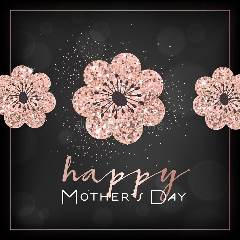 Mothers Day Banner Template with Golden Glitter Flowers. Mother Day Greeting Card Calligraphy Design with Glowing Elements Flyer royalty free illustration