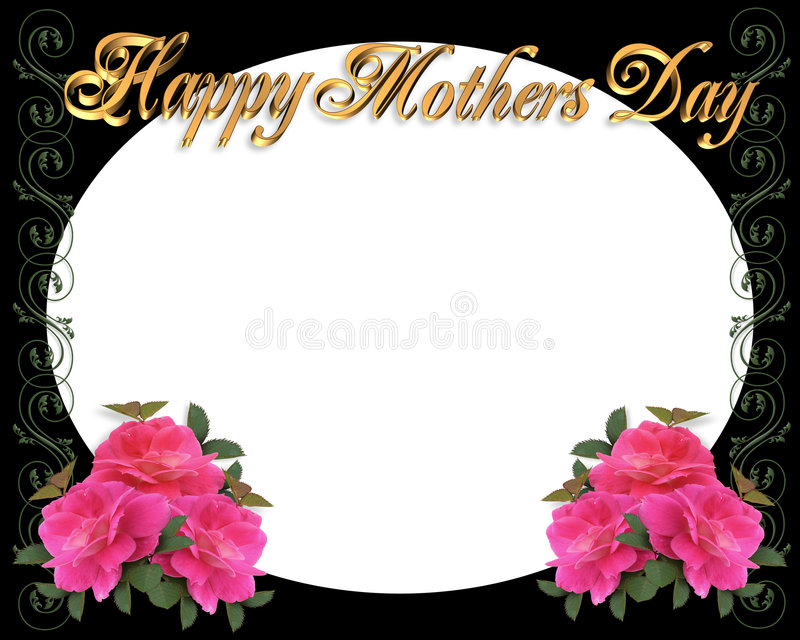 Mothers Day Border Frame On Black Stock Illustration - Illustration ...