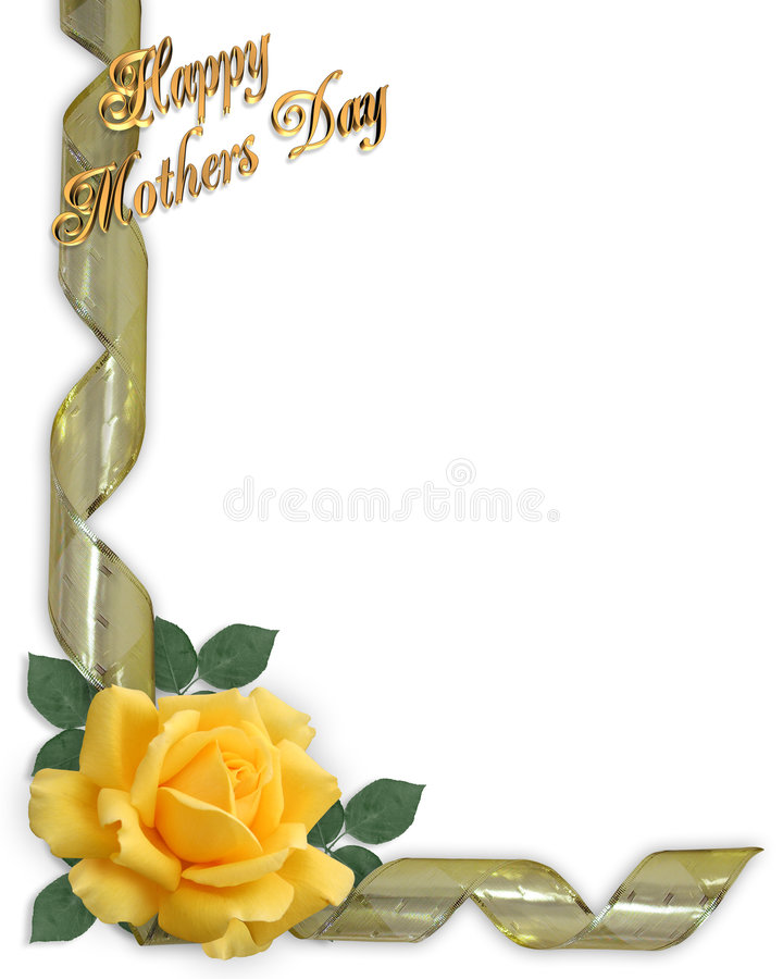 Mothers Day Border yellow rose. Image and illustration composition Design element for Mothers Day background, stationery, border or card. Yellow rose and gold stock illustration