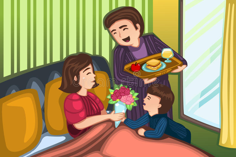 Mothers day breakfast in bed royalty free illustration