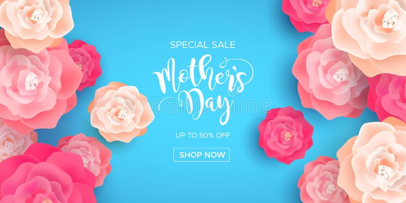 Mothers Day business sale banner with pink flowers vector illustration
