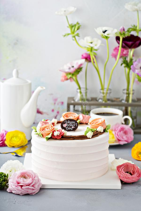 Mothers day cake with flowers stock photos
