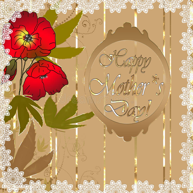 Mothers day card. Mothers day floral card with text vector illustration