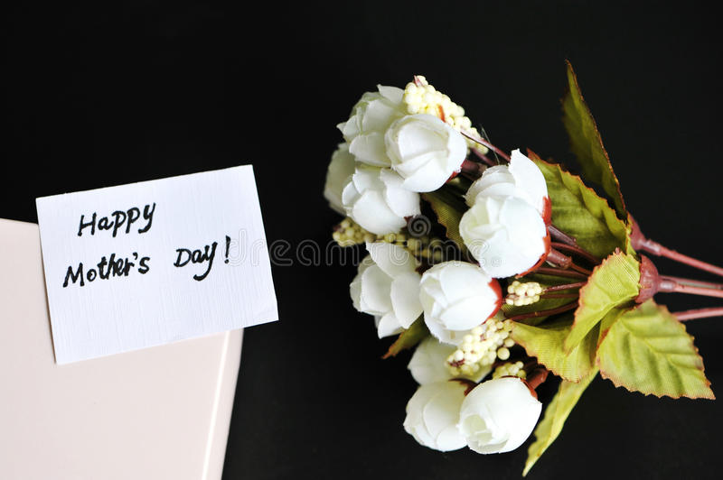Mothers day card with flower. Mothers day card, gift with flower stock photography
