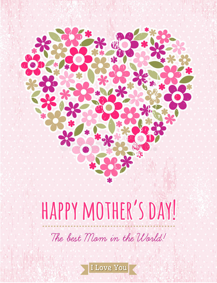 Mothers Day card with heart of flowers on pink background royalty free illustration