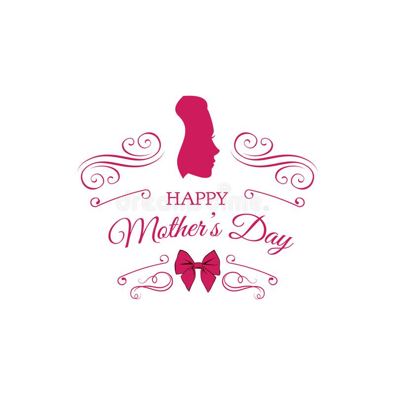 Mothers Day Card. Ladies Silhouette. Swirls, Ornate Frames And Bow ...