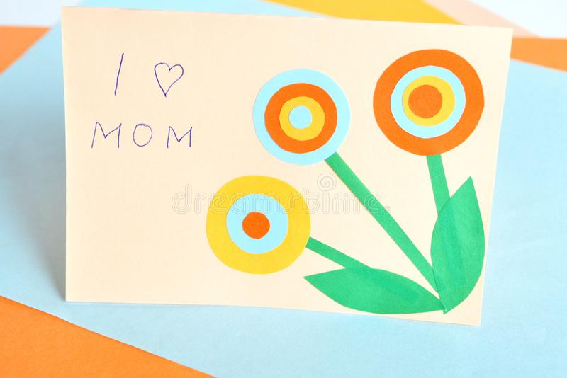Mother`s day card - handmade crafts royalty free stock photo