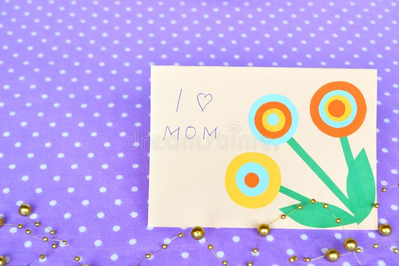 Mother`s day card - handmade crafts stock images