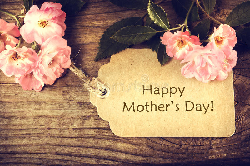 Mothers day card with roses royalty free stock photo