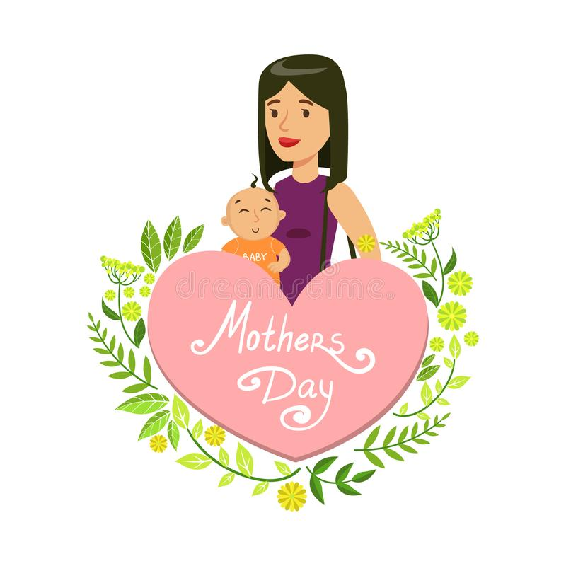 Mothers Day Card Template, Beautiful Mother with Her Baby, Floral Frame and Place for Text Vector Illustration royalty free illustration