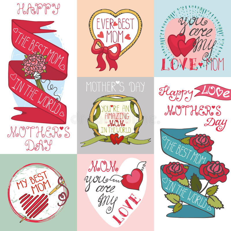 Mothers day cards set.Labels, decor elements stock illustration