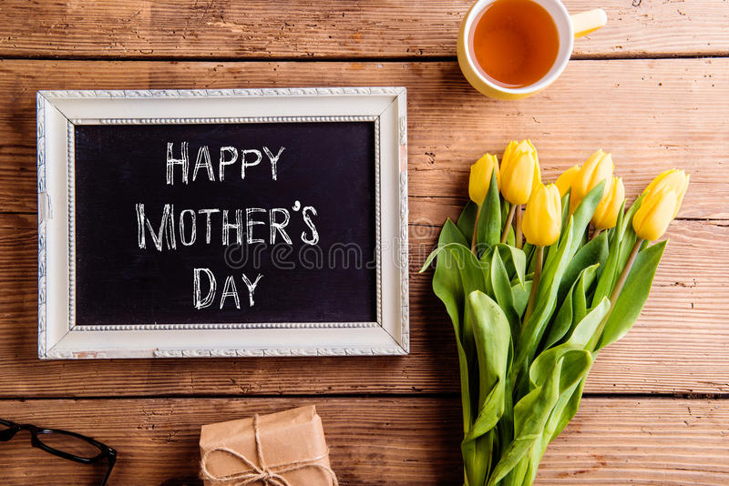 Mothers day composition, Picture frame with chalk sign royalty free stock photos