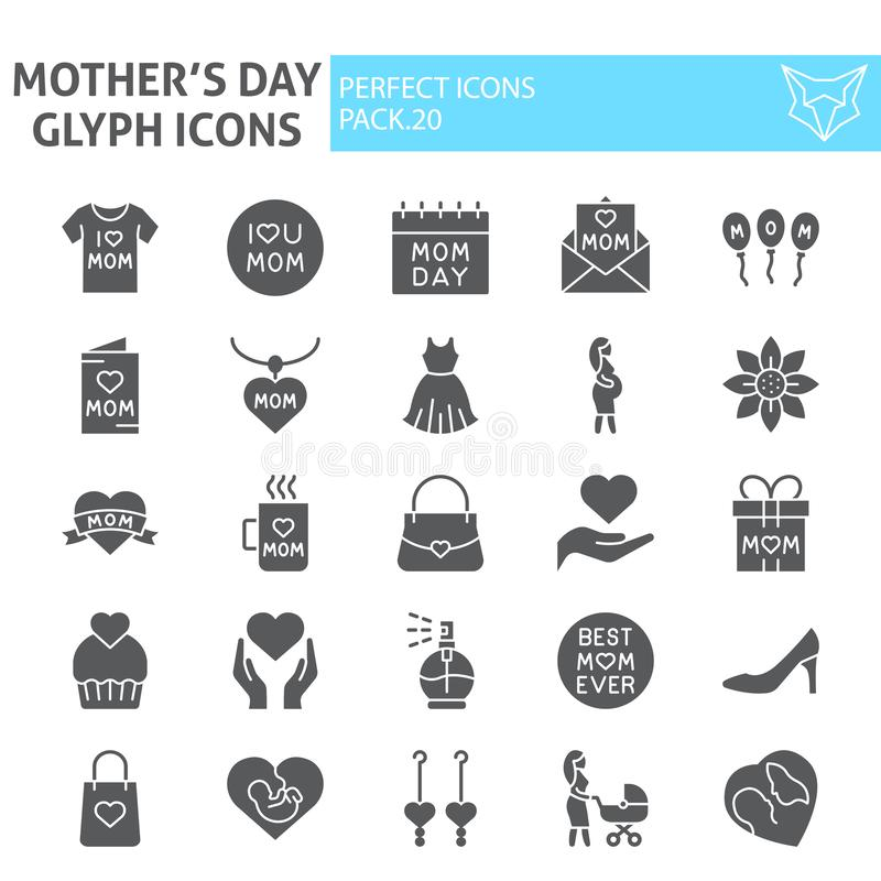Mothers day glyph icon set, motherhood symbols collection, vector sketches, logo illustrations, mom signs solid stock illustration