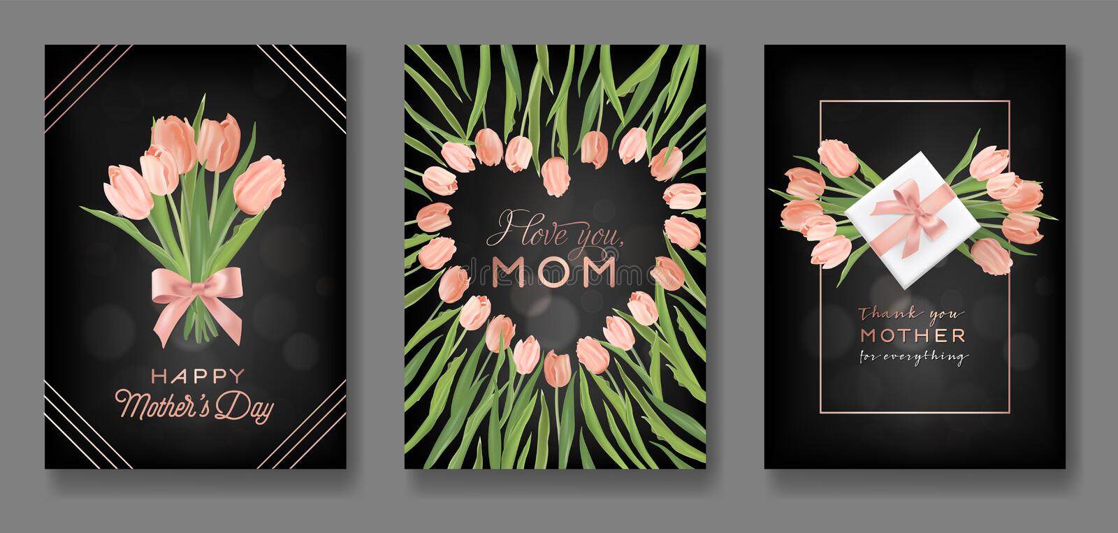 Mothers Day Greeting Card Design Set. Happy Mother Day Flyer with Tulip Flowers, Gifts and Golden Glitter Hearts for Poster Banner vector illustration