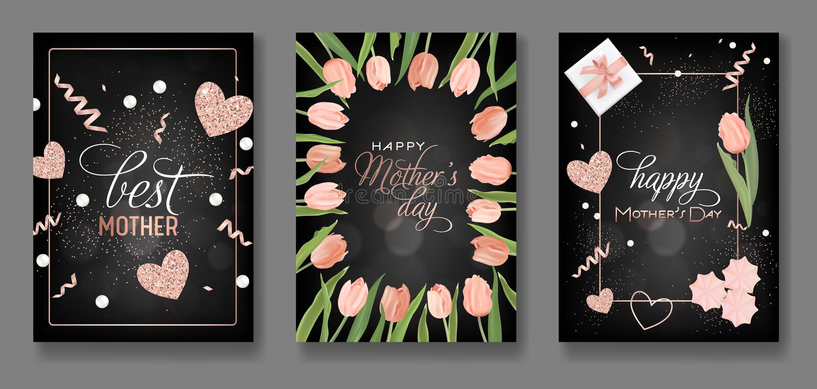 Mothers Day Greeting Card Design Set. Happy Mother Day Flyer with Tulip Flowers, Gifts and Golden Glitter Hearts for Poster vector illustration