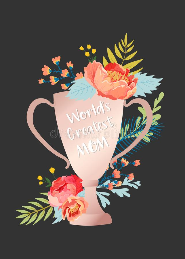 Mothers Day Greeting Card with Flowers Bouquet. Happy Mother Day Floral Banner. Best Mom Poster, Flyer Spring Celebration Design royalty free illustration
