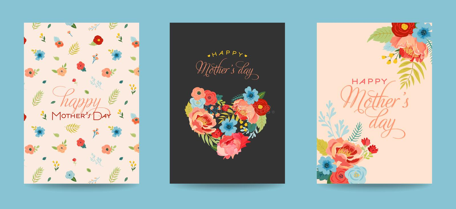 Mothers Day Greeting Card Set with Flowers Bouquet. Happy Mother Day Floral Banner. Best Mom Poster, Flyer Spring Celebration stock illustration