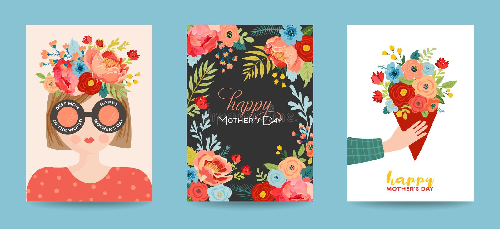 Mothers Day Greeting Card Set. Spring Happy Mother Day Holiday Banner with Flowers and Mom Character with Bouquet for Flyer Poster vector illustration