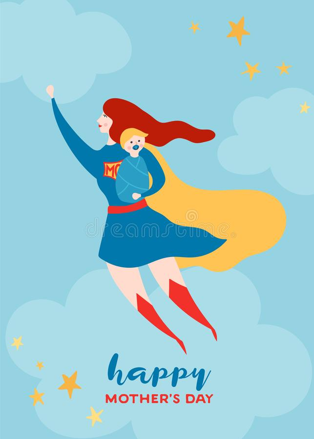 Mothers Day Greeting Card with Super Mom. Flying Superhero Mother with Baby Character in Red Cape Design for Mother Day Poster royalty free illustration