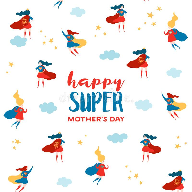 Mothers Day Greeting Card with Super Mom. Superhero Mother Character in Red Cape Design for Mother Day Poster, Banner, Background vector illustration