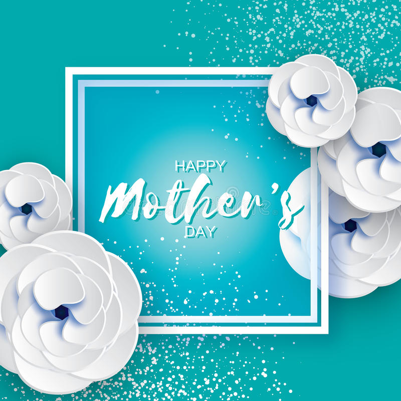 Mothers Day Greeting card. Women`s Day. White Paper cut flower. Origami Beautiful bouquet. Square frame. text. Happy Mothers Day. White Floral Greeting card royalty free illustration