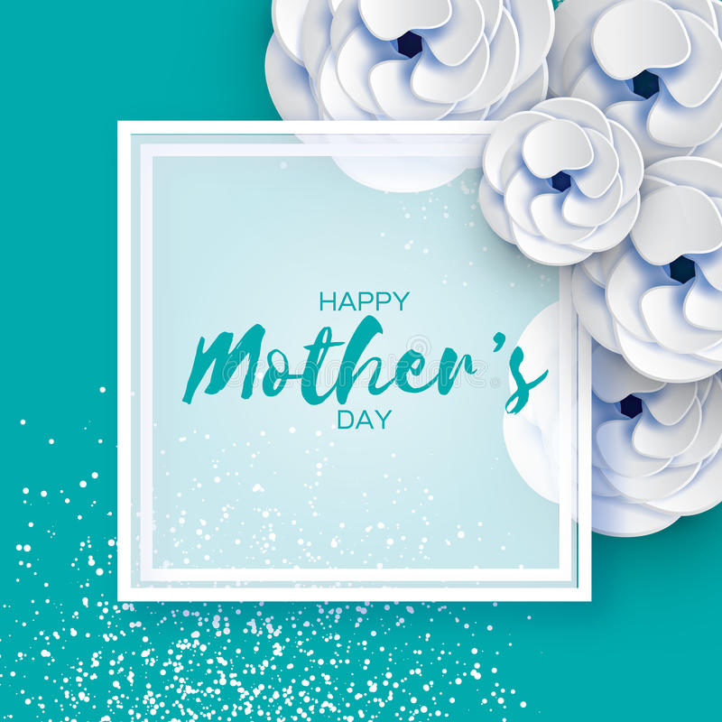 Mothers Day Greeting card. Women`s Day. White Paper cut flower. Origami Beautiful bouquet. Square frame. text. Happy Mothers Day. White Floral Greeting card vector illustration