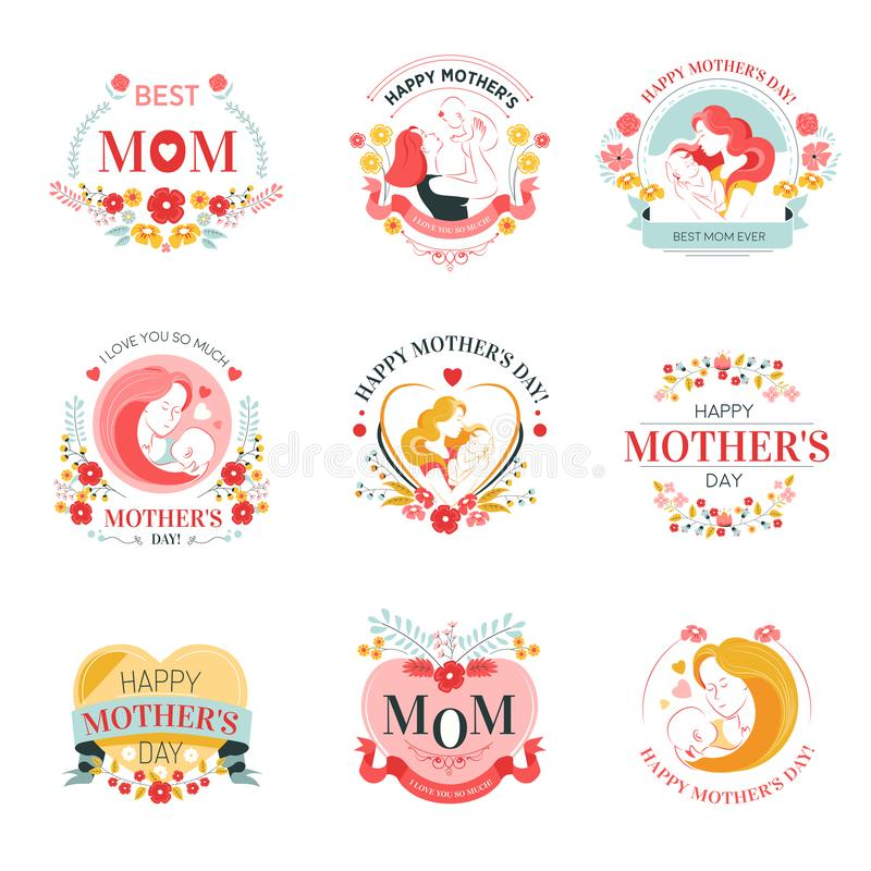 Mothers day holiday isolated icons with woman and baby. Woman and baby mothers day holiday isolated icons motherhood appreciation mom congratulation female stock illustration