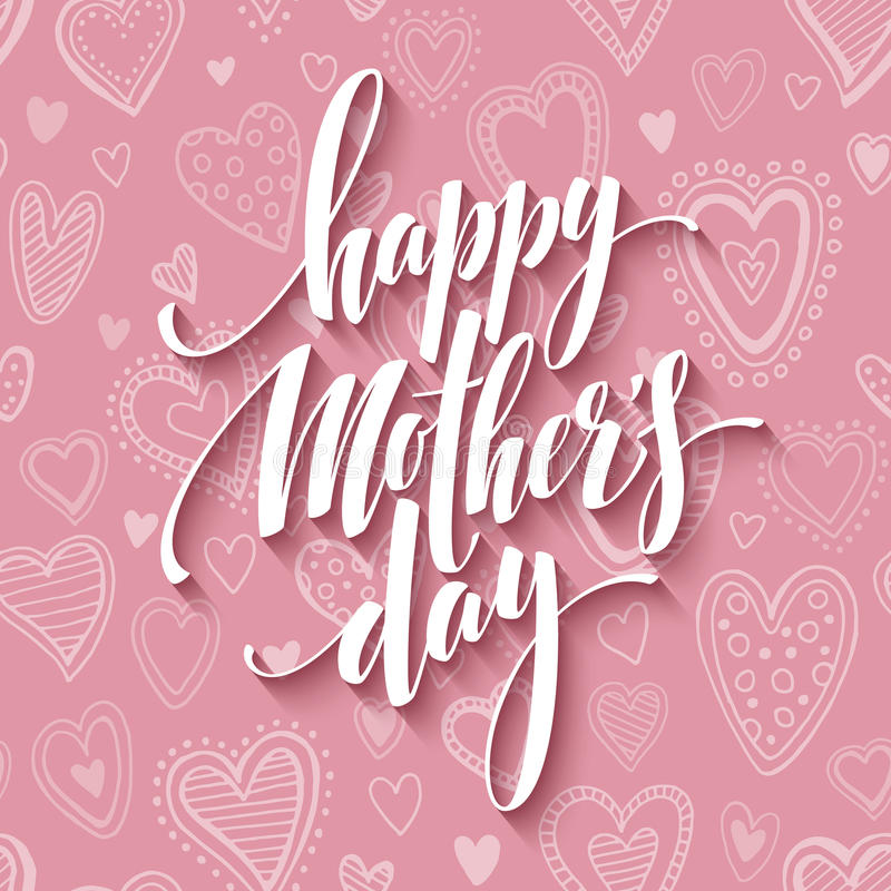 Mothers day lettering card with pink seamless background and handwritten text message. Vector illustration stock illustration