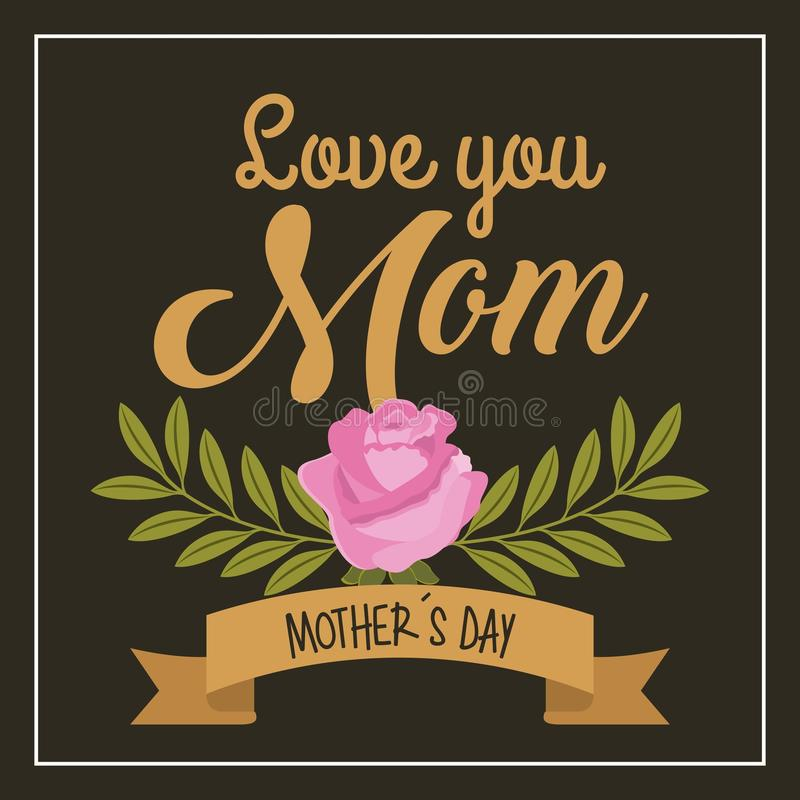 Mothers day love you mom pink rose branches black background stock illustration